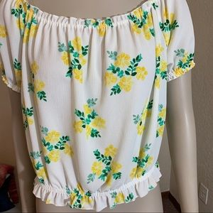 Vivace White with Yellow Florals Top